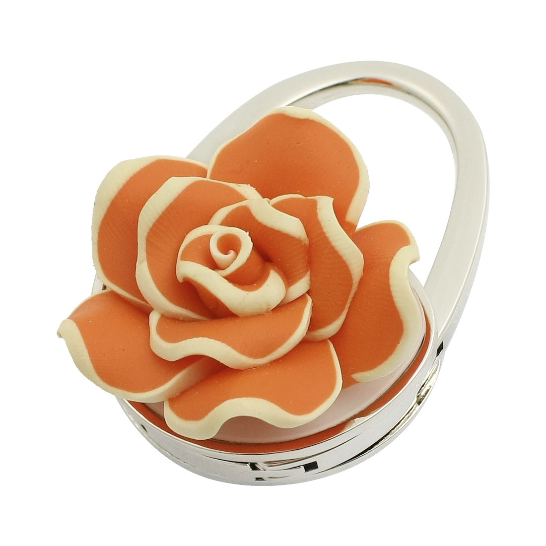 Lady Orange Rose Flower Decor Handbag Design Foldable Purse Hand Bag Hook Hanger