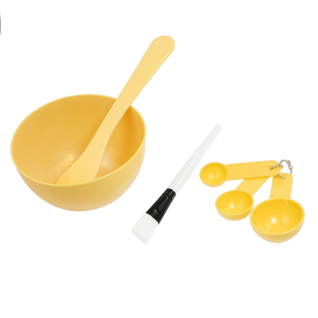 Set 4 in 1 DIY Facial Mask Mixing Bowl Stick Brush Spoon Tool Apricot for Women