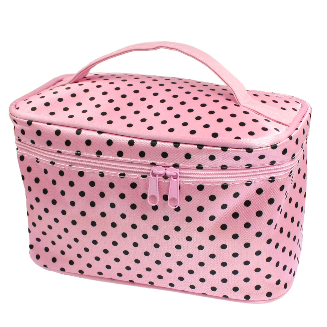 Ladies Dots Pattern Zippered Closure Mirror Cosmetic Pouch Bag Case Pink