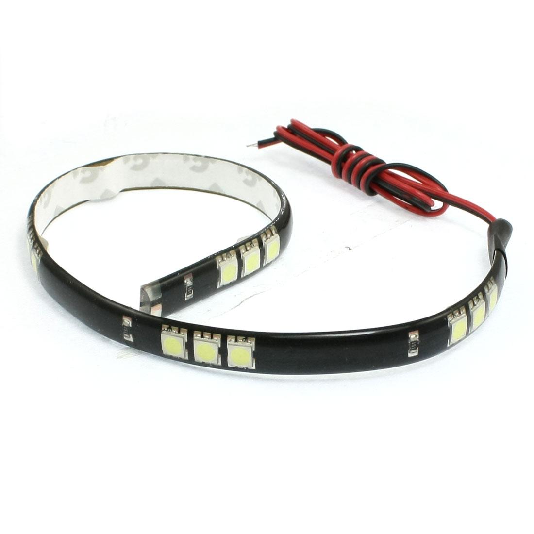 Car Auto DC 12V White 5050 SMD 15-LED Strip Light Lamp 30cm