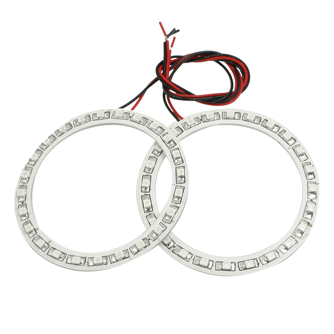 2 Pcs 80mm Dia Red 24-SMD LED Car Rear Angel Eyes Ring Light