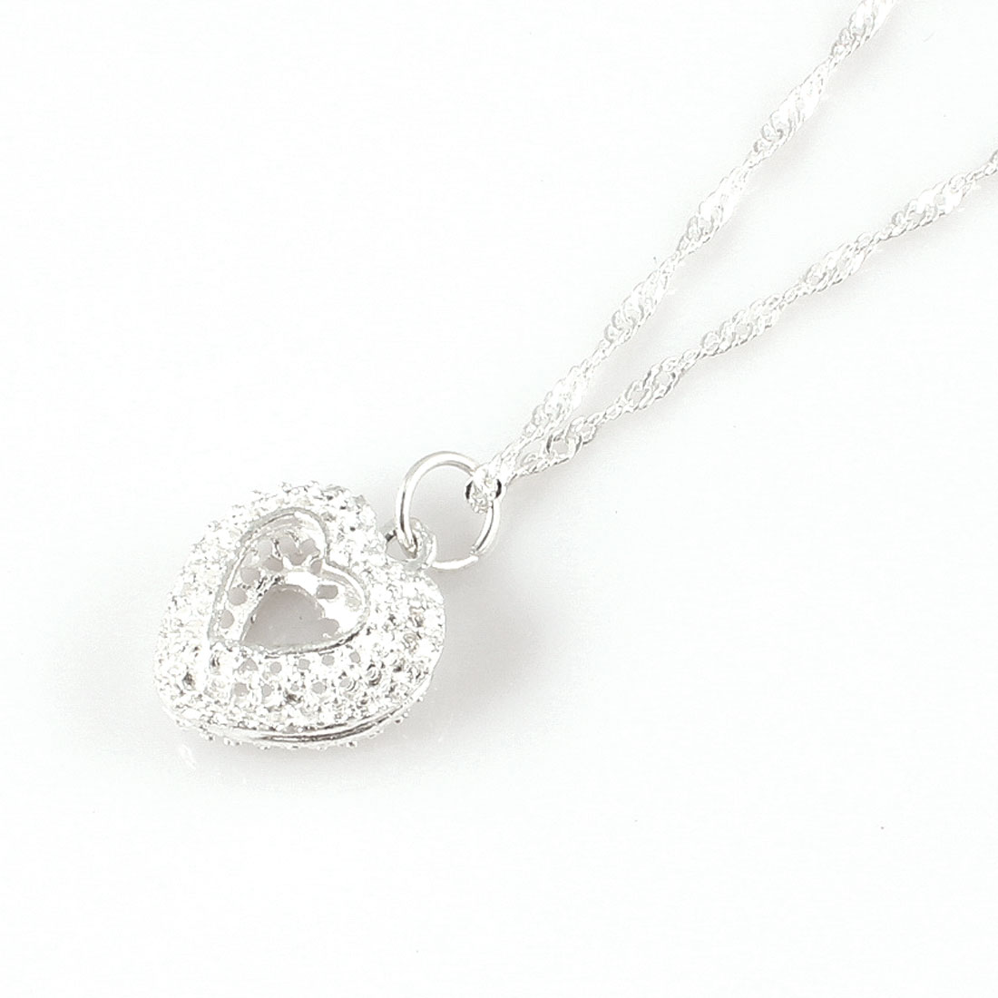 Women Heart Shape Pendant Glittery Silver Tone Chain Necklace