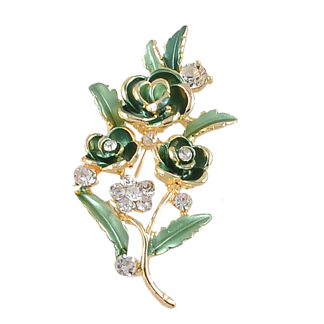 Ladies Rhinestone Accent Green Flower Leave Breast Pin Brooch Corsage Gold Tone