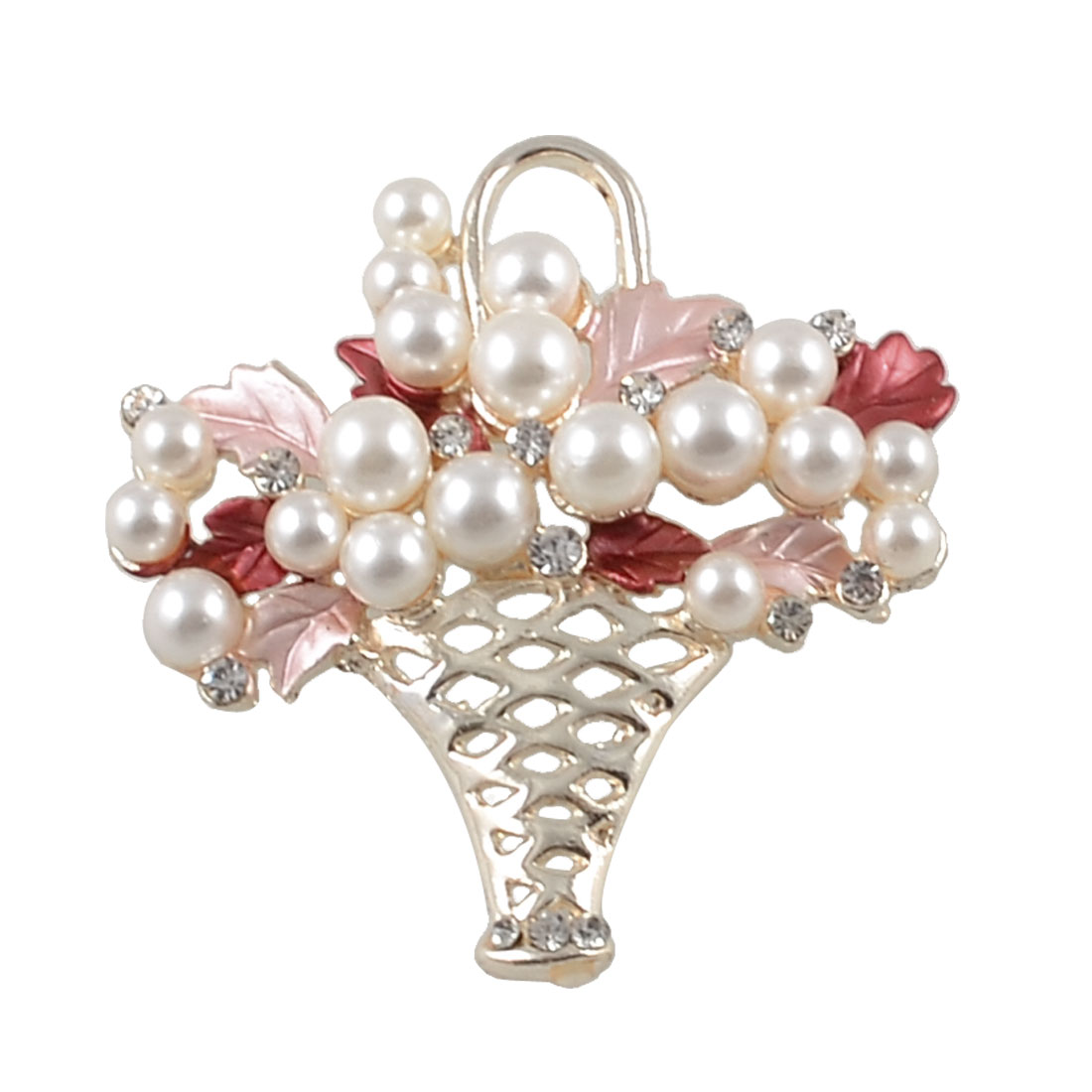Rhinestone Imitation Pearl Accent Pink Amaranth Leaf Flower Basket Metal Pin Brooch Gold Tone
