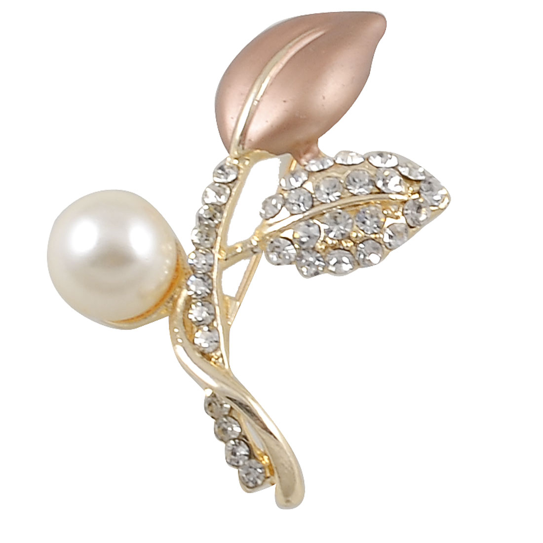 Gold Tone Rosy Brown Leaf Faux Pearl Detailing Safety Pin Brooch Gift for Women