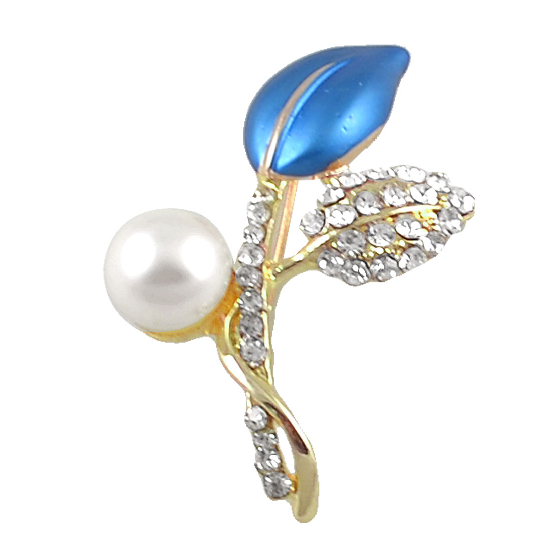 White Faux Pearl Detail Royal Blue Leave Shape Pin Closure Brooch for Lady