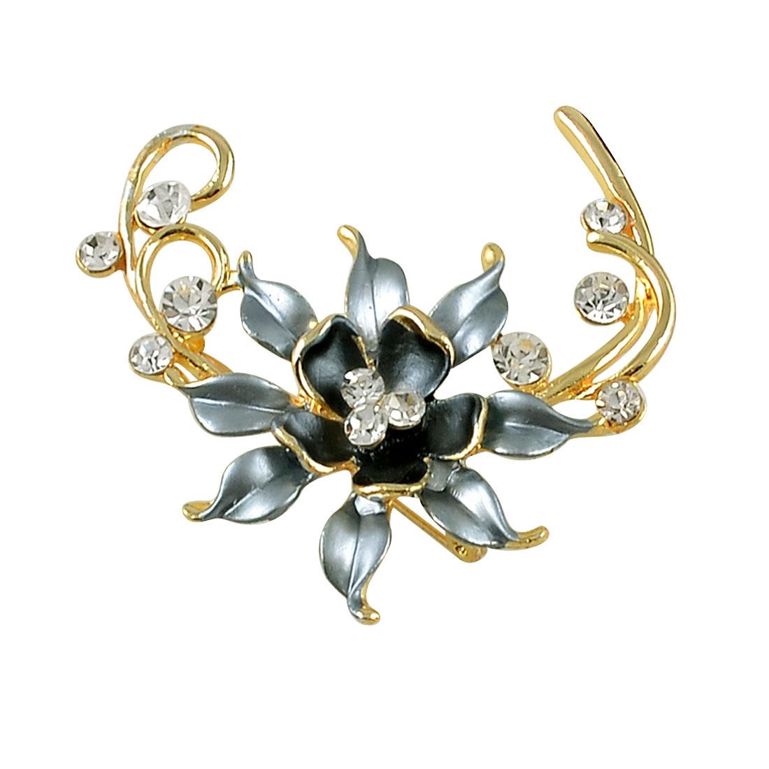 Ladies Glitter Rhinestone Detail Steel Blue Flower Style Breastpin Gold Tone