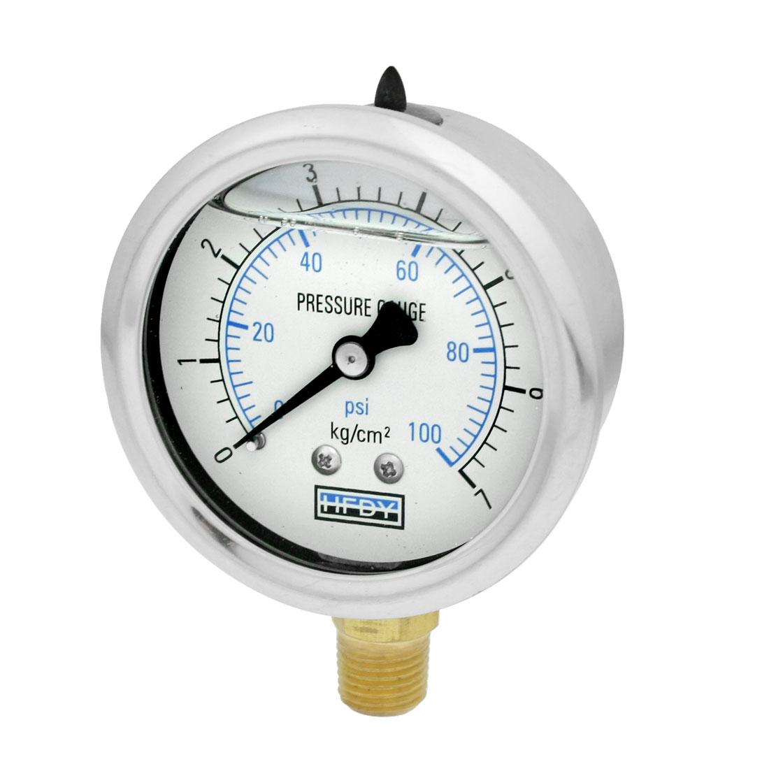 """1/4""""PT Lower Mount 0-7kgf/cm2 0-100psi Oil Filled Pressure Gauge Silver Tone"""