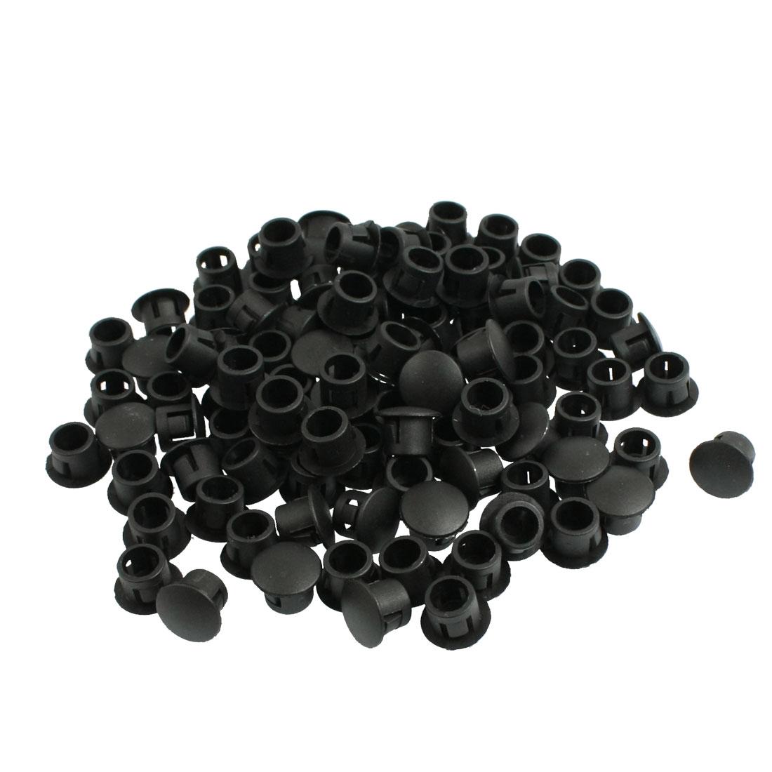 """100 Pcs 7/16"""" Head Plastic Locking 5/16"""" Dia Hole Plugs Black"""