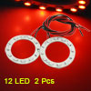 2 Pcs 40mm Dia Red 12 SMD LED Car Rear Angel Eyes Ring Light