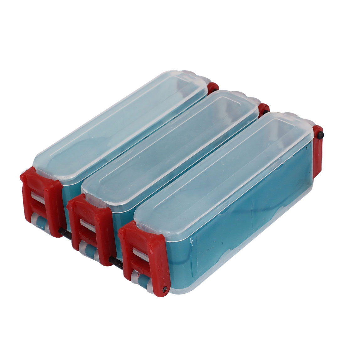 Dual Side 6 Compartments Teal Green Red Waterproof Fishing Lure Tackle Box