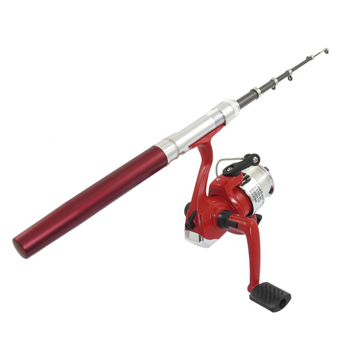 "Fushsia Portable Aluminum Alloy Pen Fishing Rod Pole w Spinning Reel Set 39.4"""