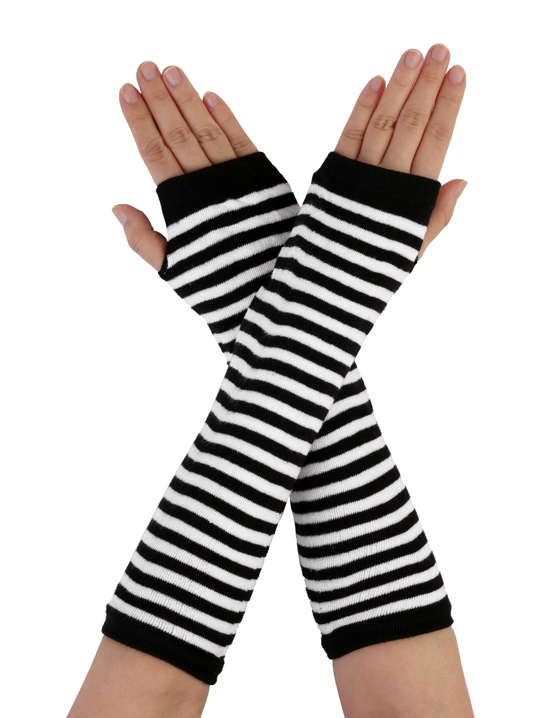Women Fingerless Stripes Prints Fabric Arm Long Gloves Warmers White Black Pair