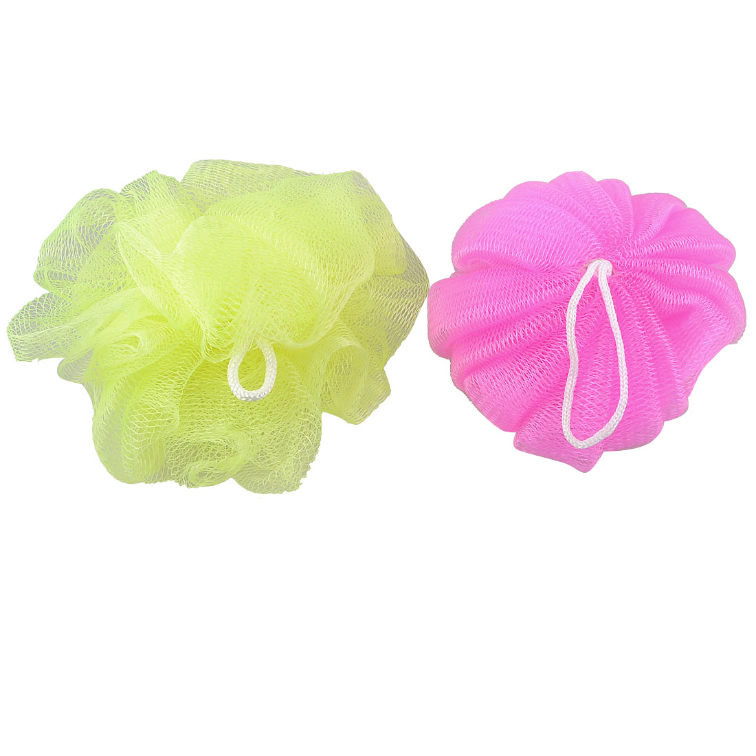 Body Wash Scrubber Nylon Meshy Bathing Bath Ball Shower Pouf Green Fuchsia 2 Pcs