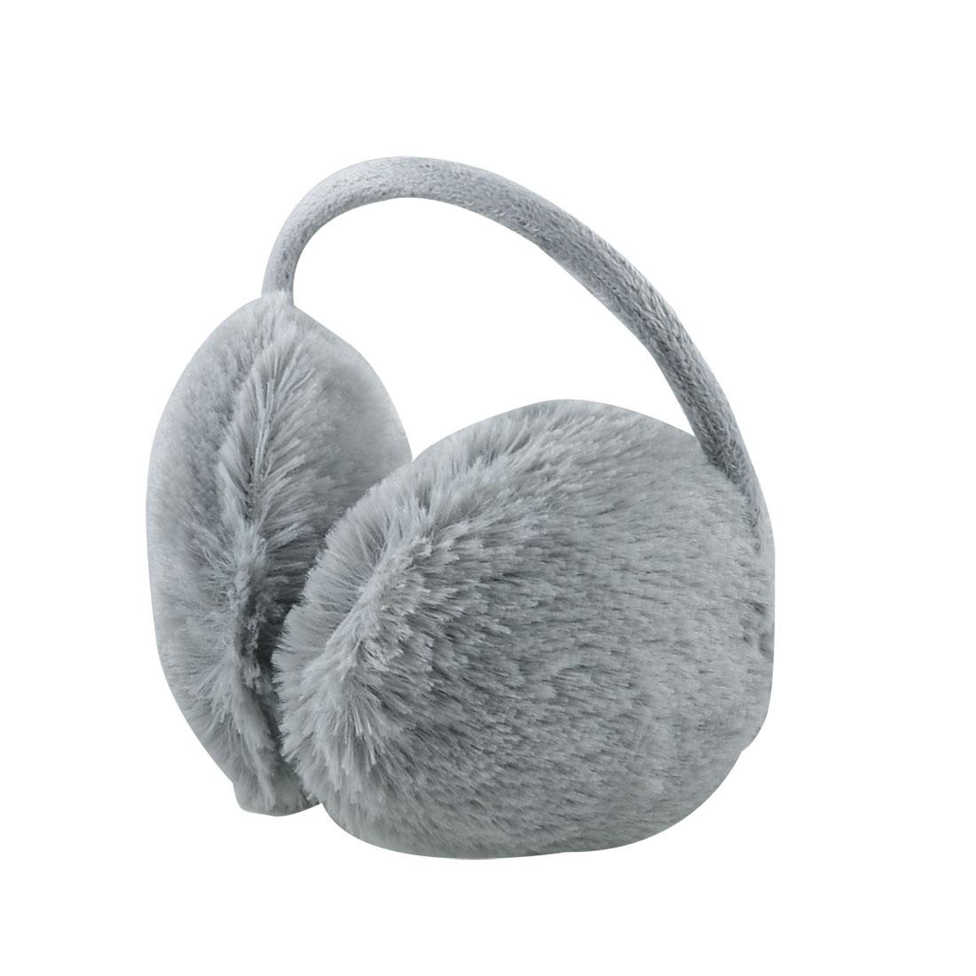 Winter Warmer Metal Bow Frame Plush Fluffy Earlap Ear Covers Back Earmuffs Gray