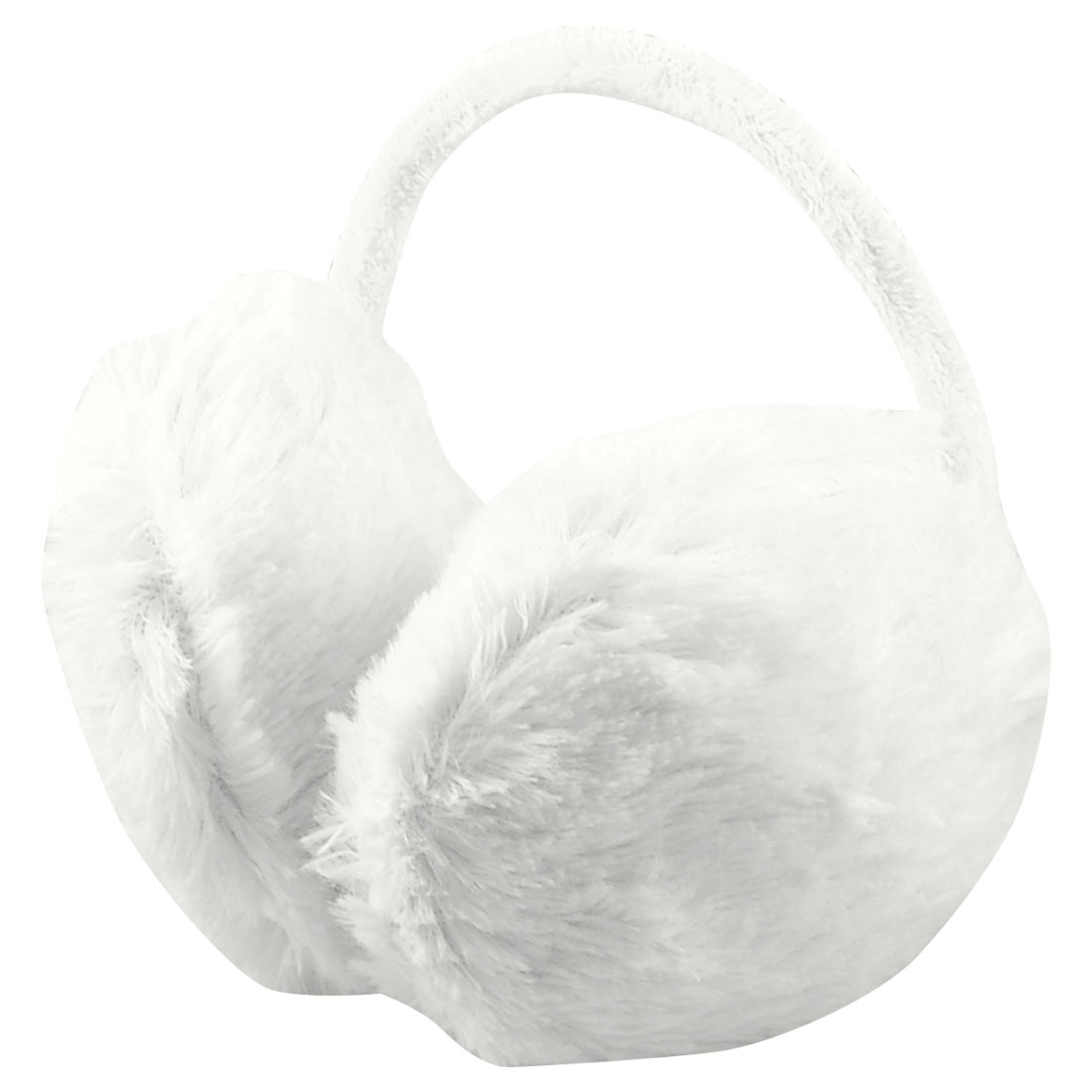 Woman Ladies Winter Headwear White Plush Ear Warmer Back Earmuffs Earlap