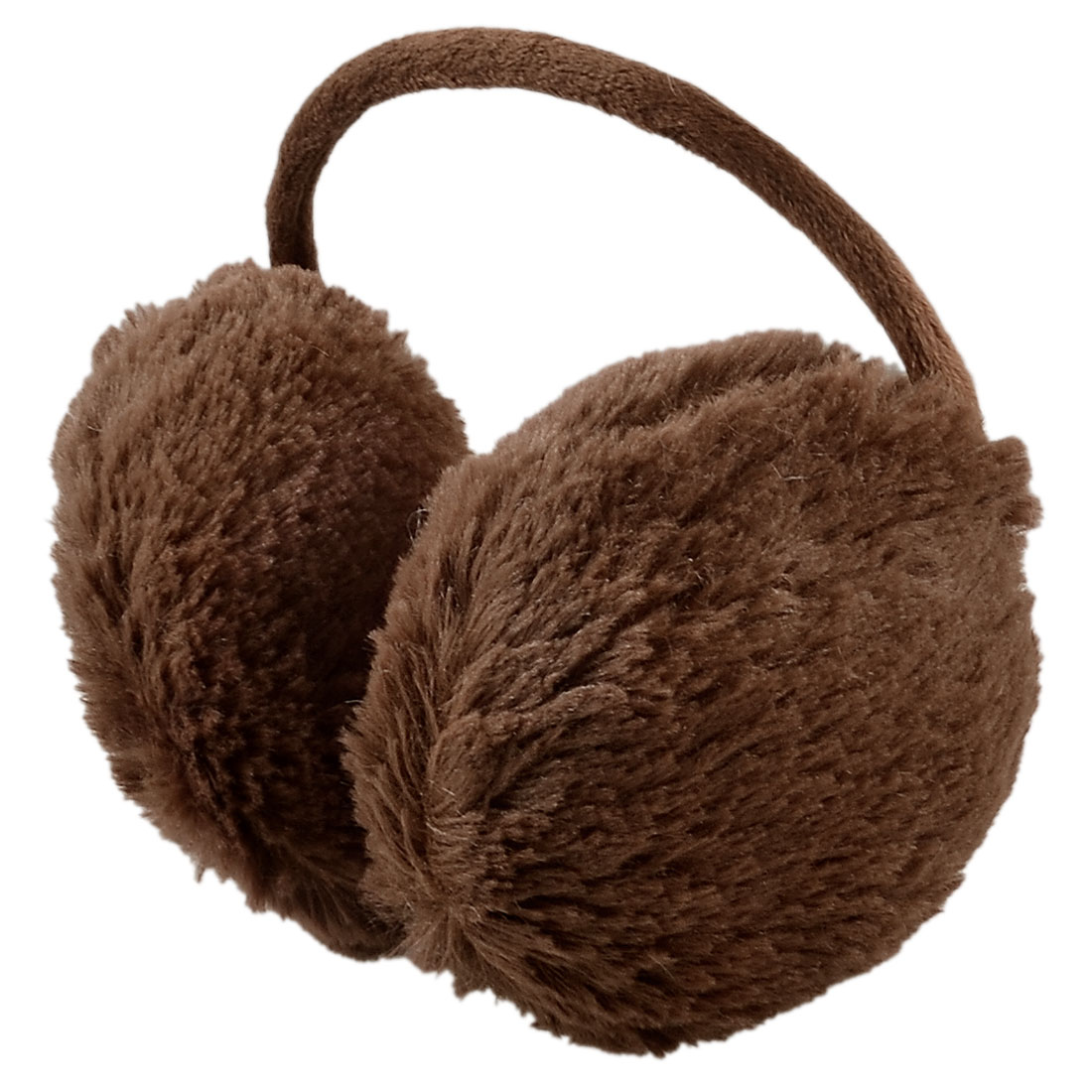 Lady Winter Wind Resistant Fluffy Plush Ear Cover Back Earmuffs Coffee Color
