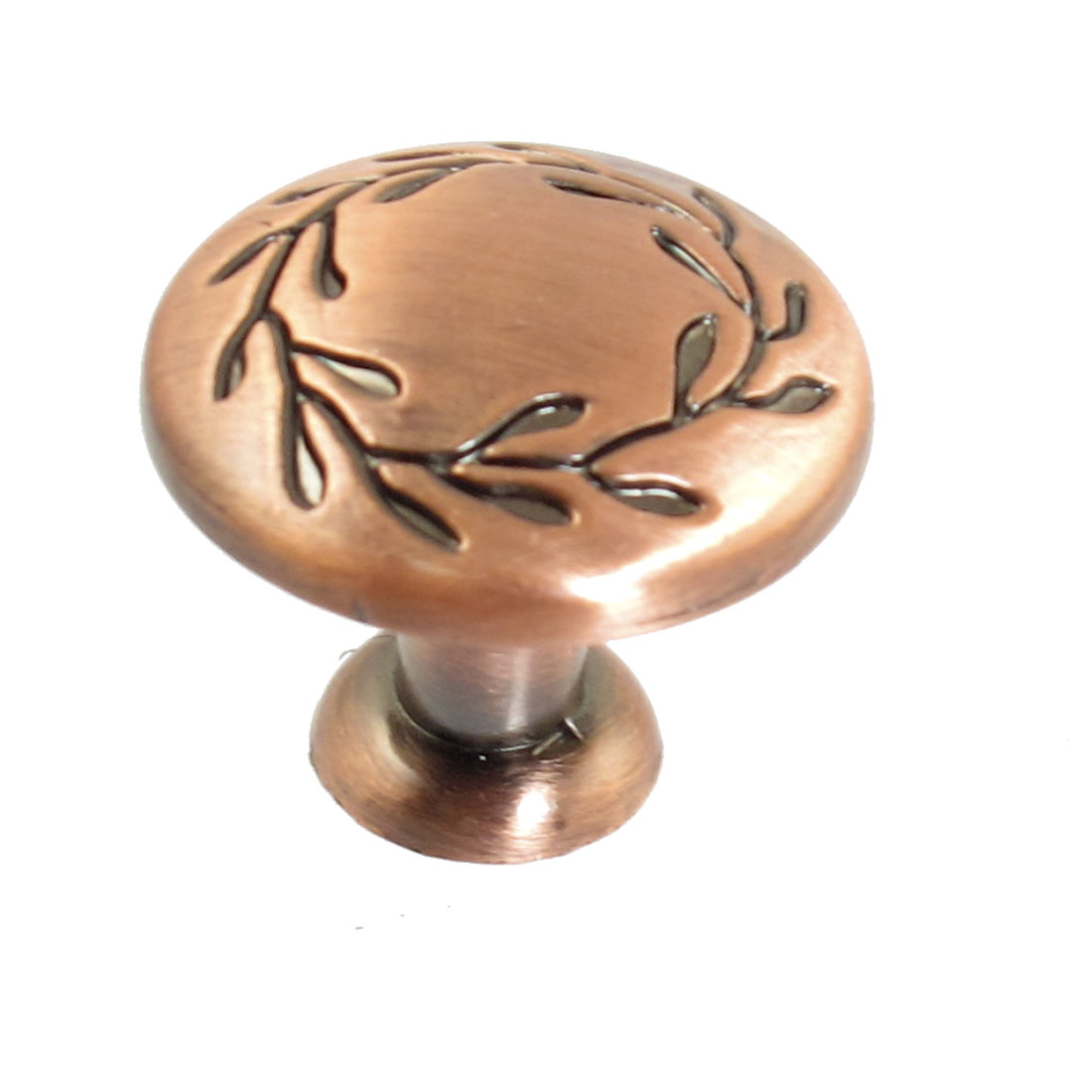 Drawer Door Antique Style Carved Leaf Round Pull Handle Knob Copper Tone