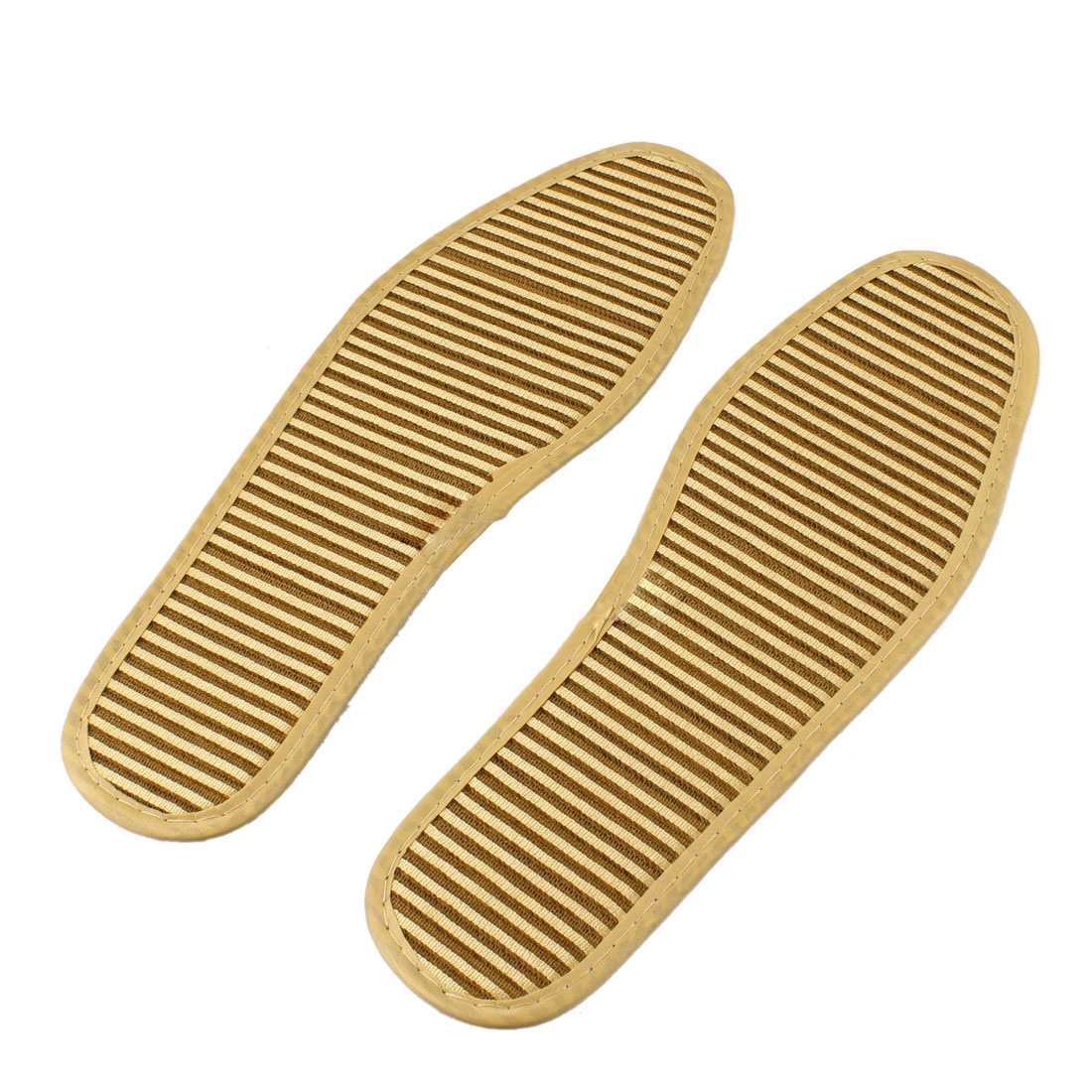 Men Beige Fabric Nonslip Massaging Shoe Pads Insoles Pair
