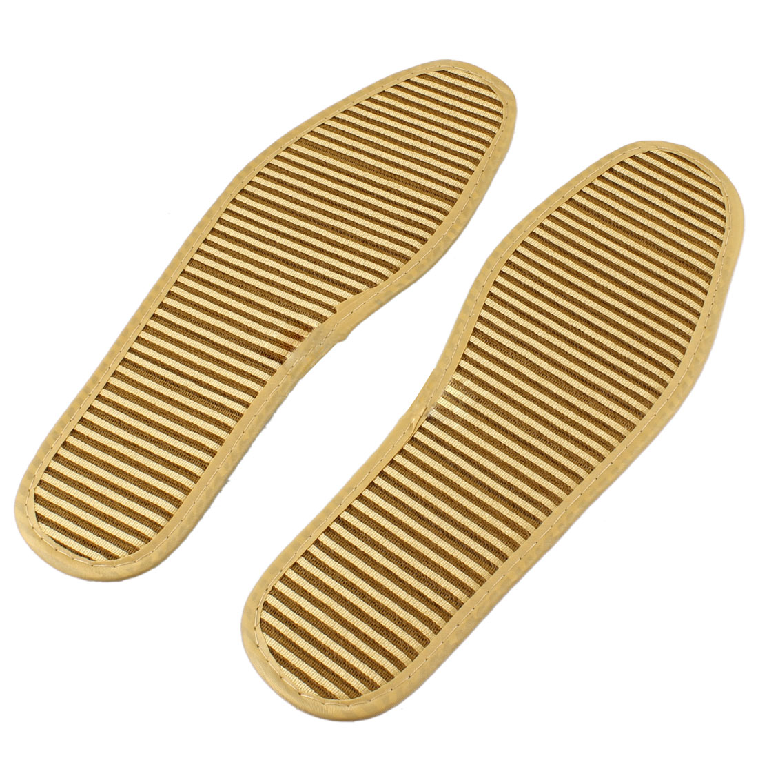 Men Anti-slip Beige Massage Massaging Insoles Shoe Pads Pair