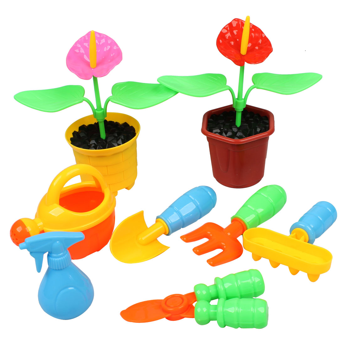 Kids Colorful Pot Culture Scissors Rake Scoop Spray Bottle Grow Flower Toy Set 8 in 1