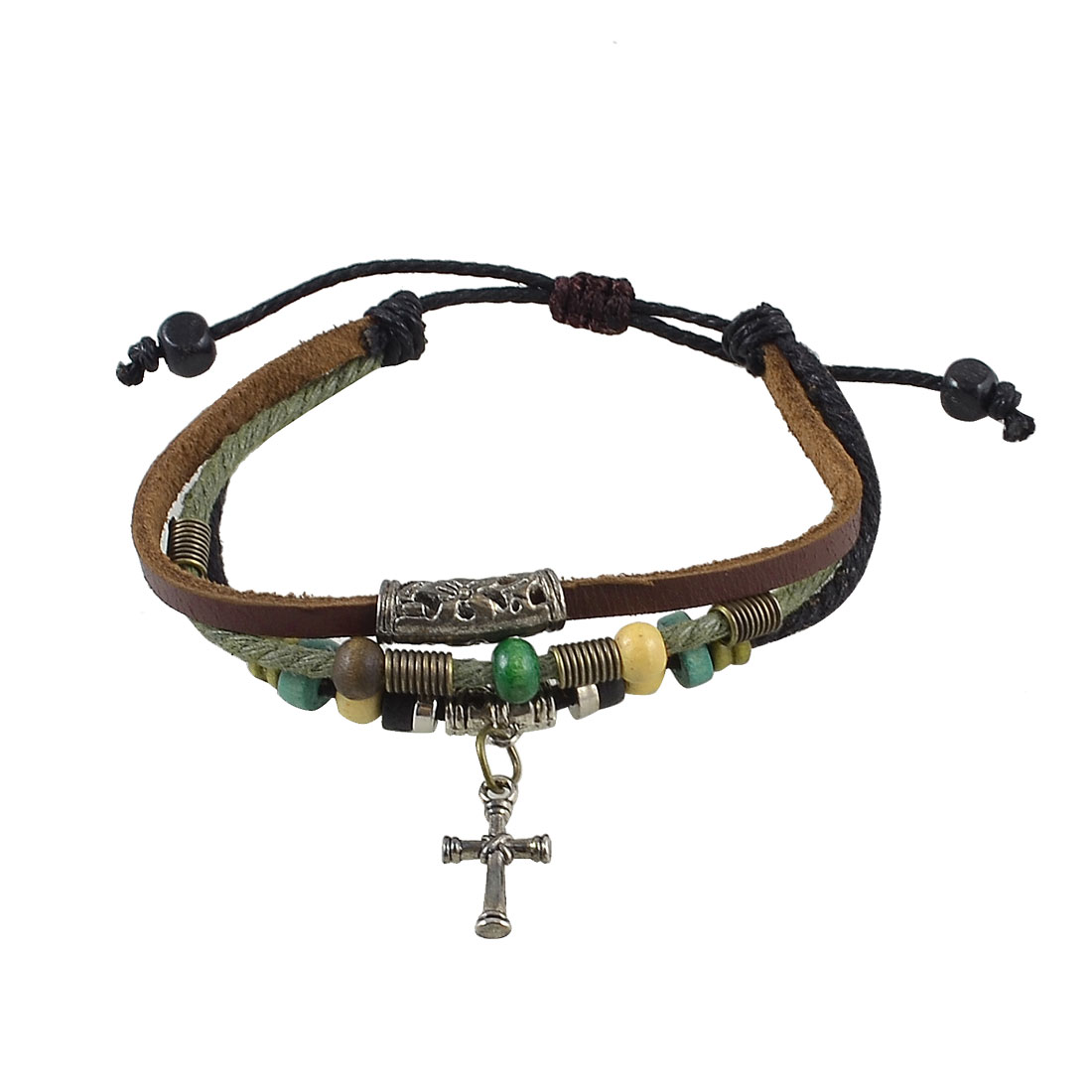 Unisex Tri Rows Style Alloy Cross Pendant Faux Leather Wrist Bracelet Brown