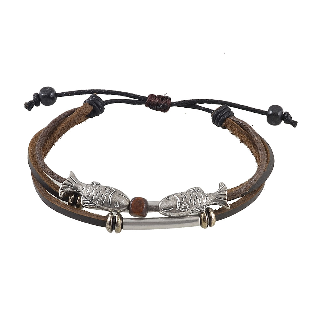 Unisex Three Rows Style Metal Fish Decor Faux Leather Wrist Braid Bracelet Brown