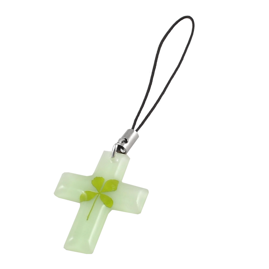 Green Leaf Decor Luminous Cross Shaped Pendant Mobile Phone Strap Charm