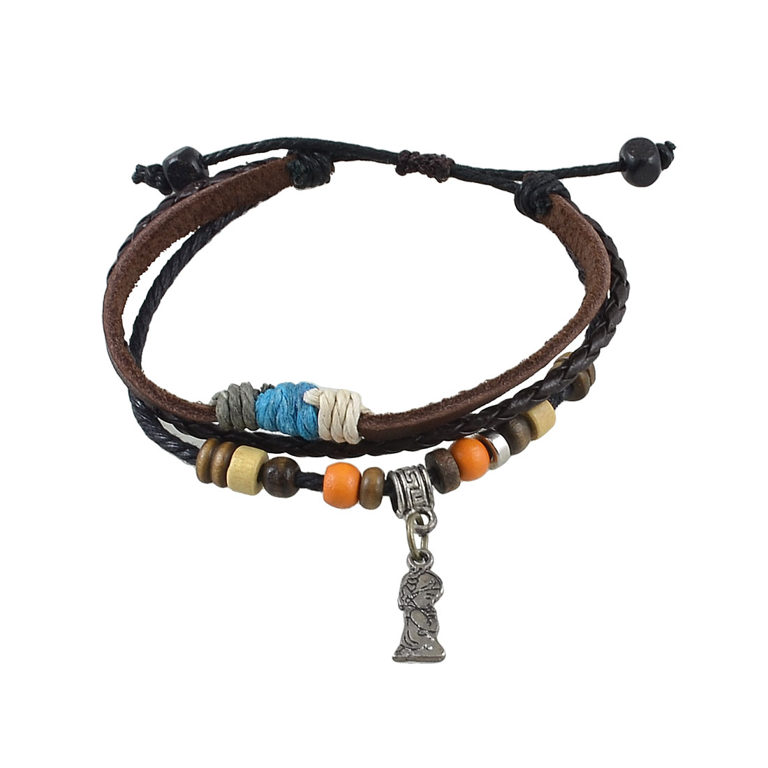 Colored Plastic Beads Brown Braided Faux Leather Adjustable Bracelet for Unisex