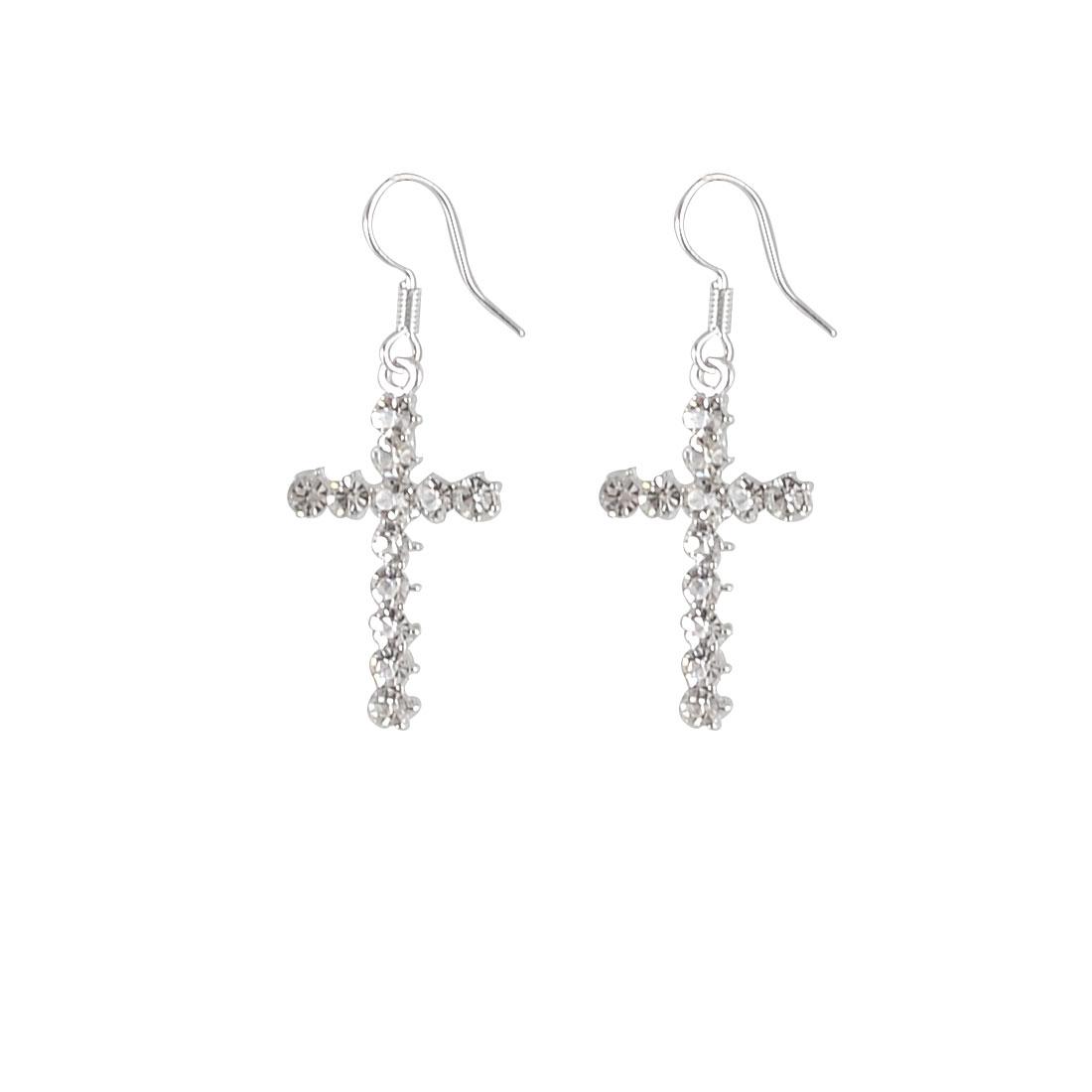 Ladies Glittery Rhinestones Silver Tone Cross Fish Hook Earrings Pair
