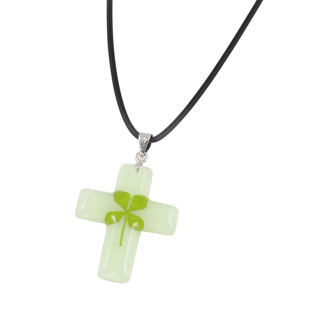 Green Leaf Decor Luminous Plastic Cross Shaped Pendant Necklace for Ladies