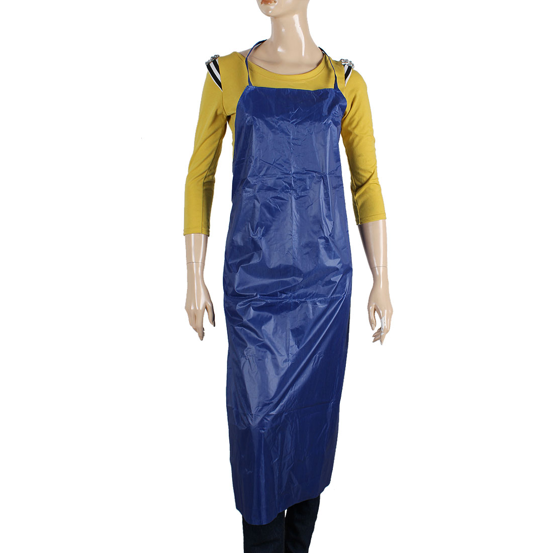 Kitchen Self Tie Plastic Body Oil Protective Apron Blue