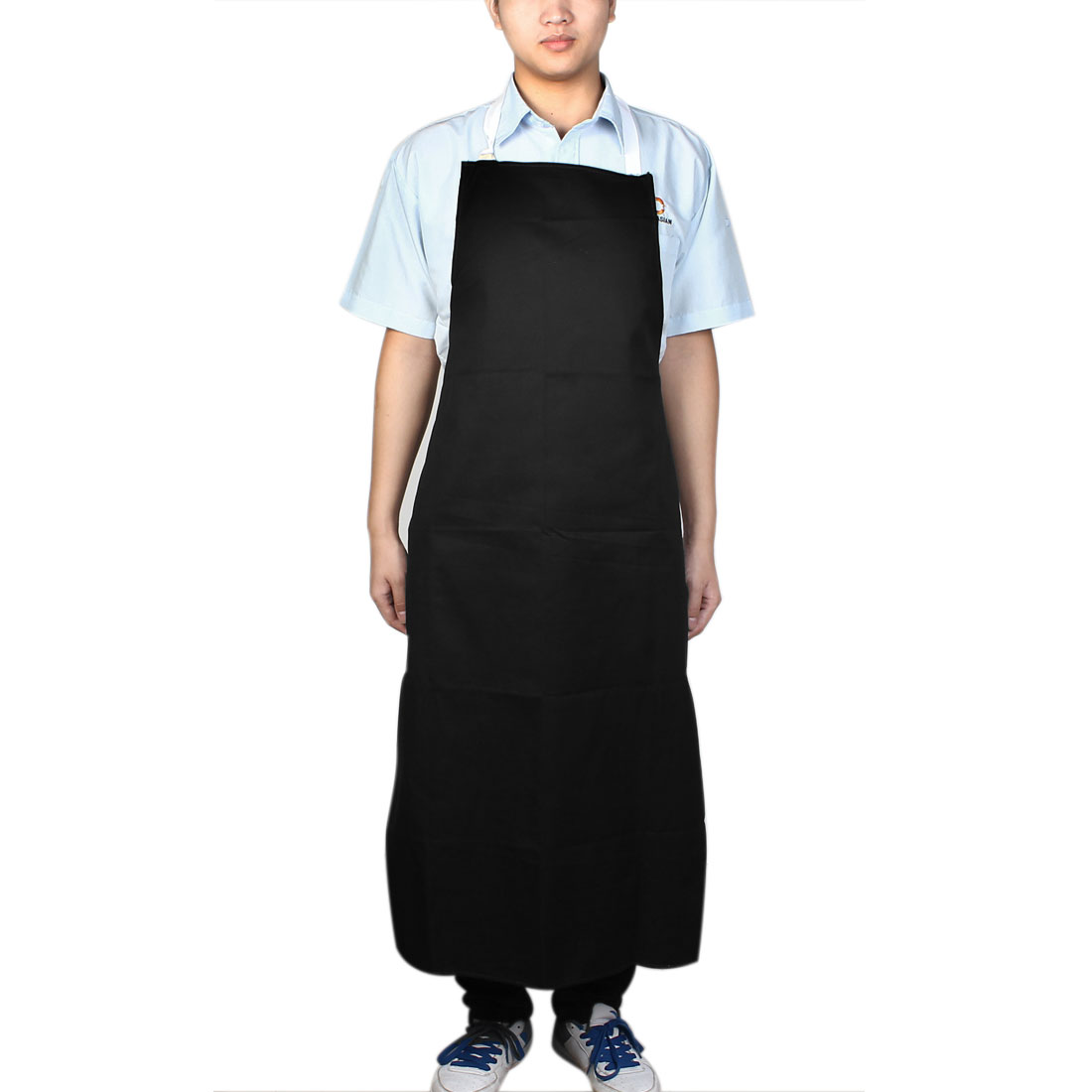 Kitchen Single Pocket Front Nylon Self Tie Bib Apron Dark Blue
