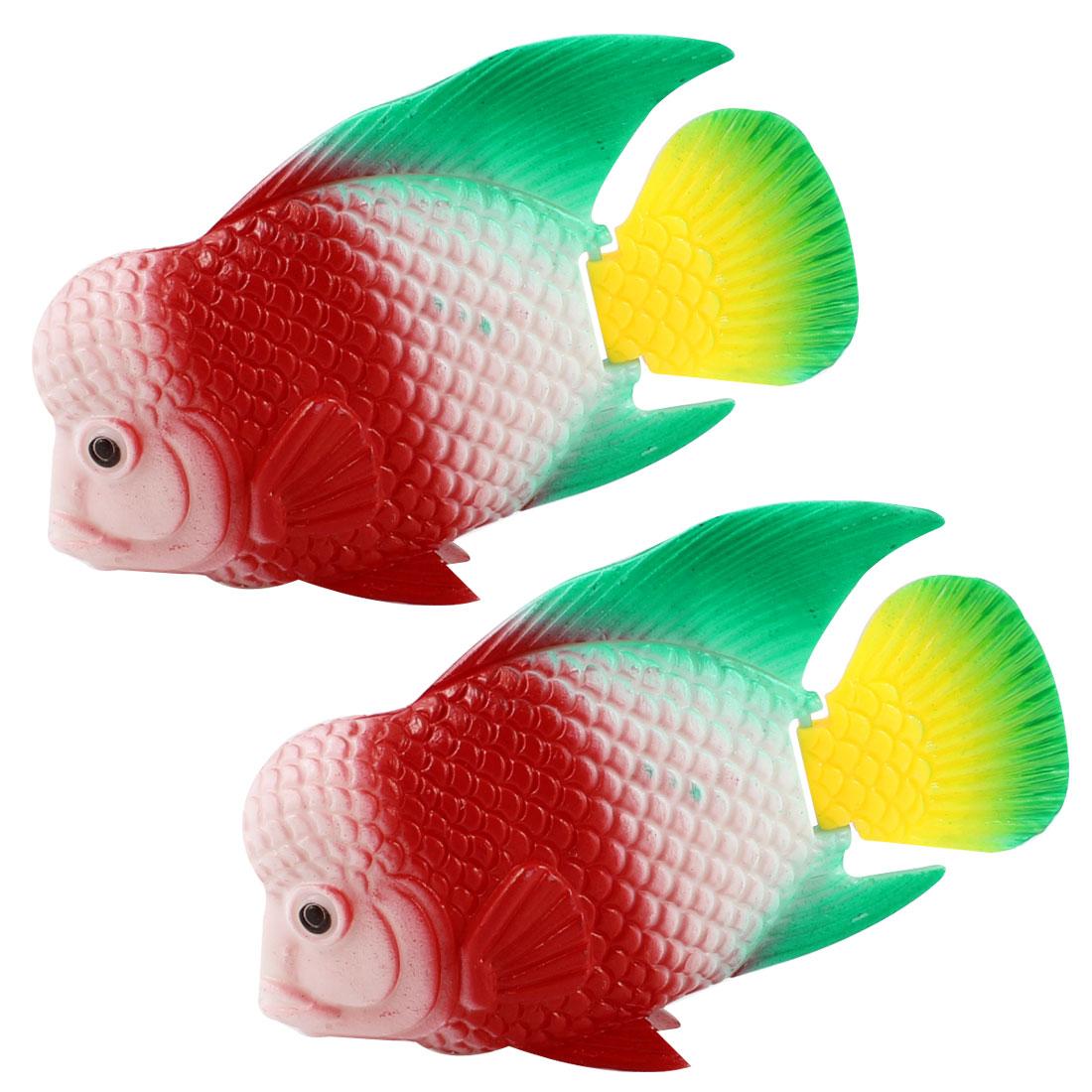 2 Pcs Manmade Tropical Red Plastic Fishes Aquarium Fish Tank Decoration Ornament