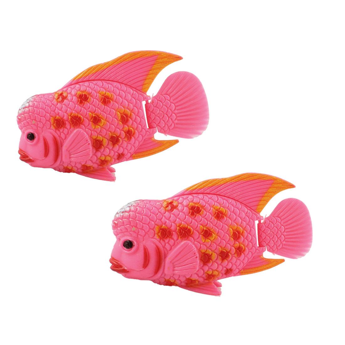 2 Pcs Manmade Tropical Pink Plastic Fishes Aquarium Fish Tank Decoration Ornament