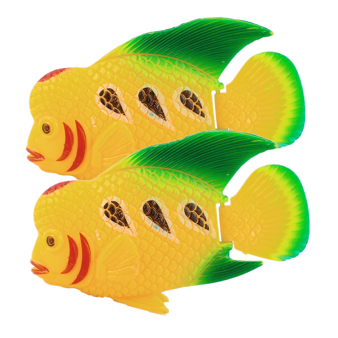 2 Pcs Green Plastic Swing Tail Tropical Fishes Ornament Decoration for Aquarium