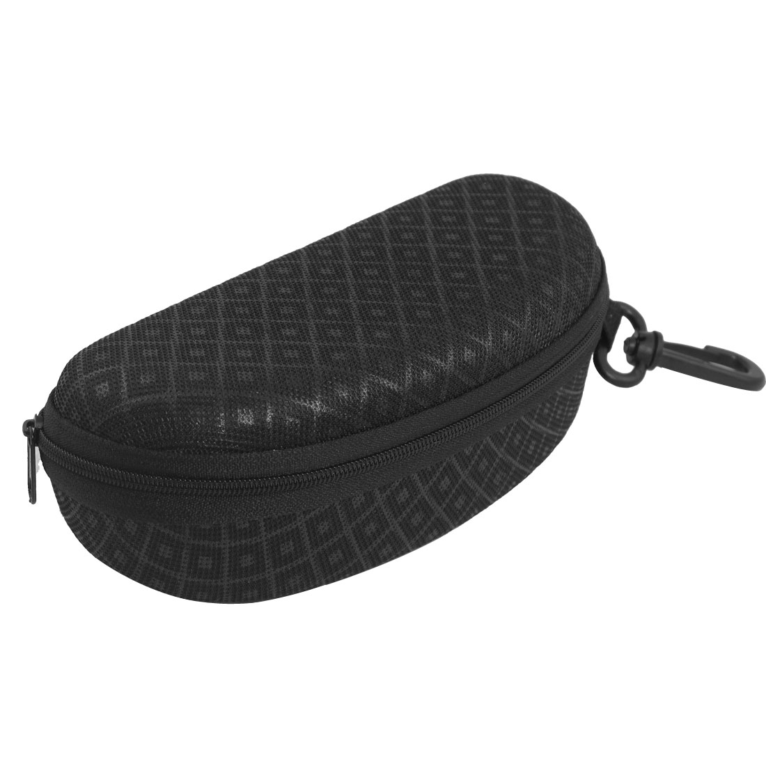 Rhombus Pattern Oval Shaped Zip Up Flannel Lining Glasses Case Black w Hook