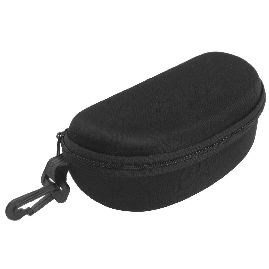Oval Shaped Zipper Black Nylon Lining Glasses Case w Hook