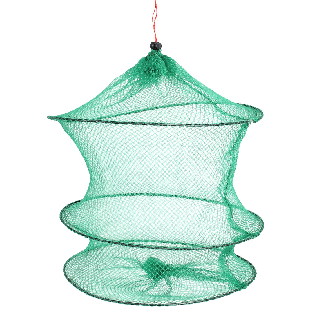 Green 3 Sections Drawstring Closure Fishing Net Cage 25cm Depth