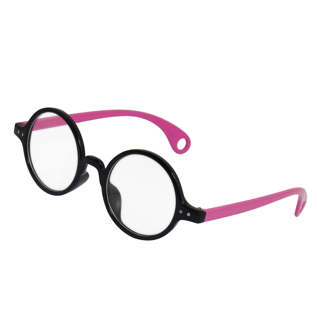 Ladies Clear Round Lens Fuchsia Arms Full Frame Plano Plain Glasses