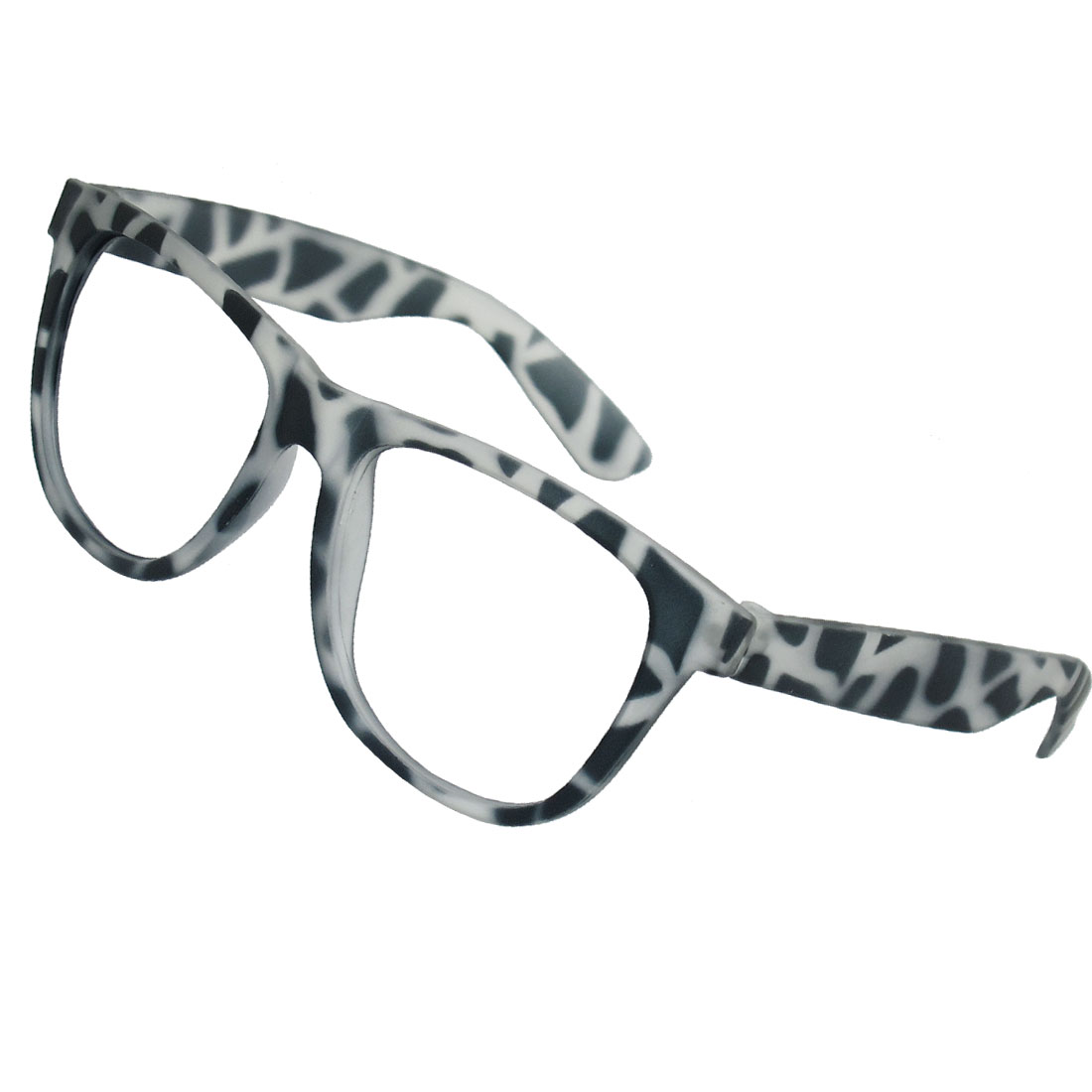 Women Gray Transparent Leopard Print Plastic Full Rim Eyeglasses Frame