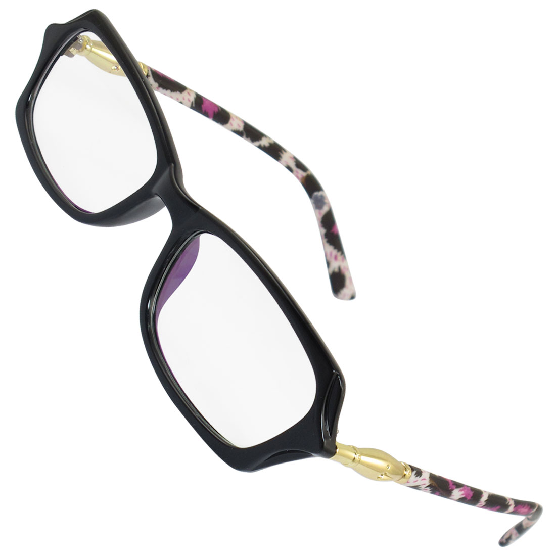 Ladies Ornament Multi Coated Lens Leopard Print Arms Rim Frame Plano Glasses