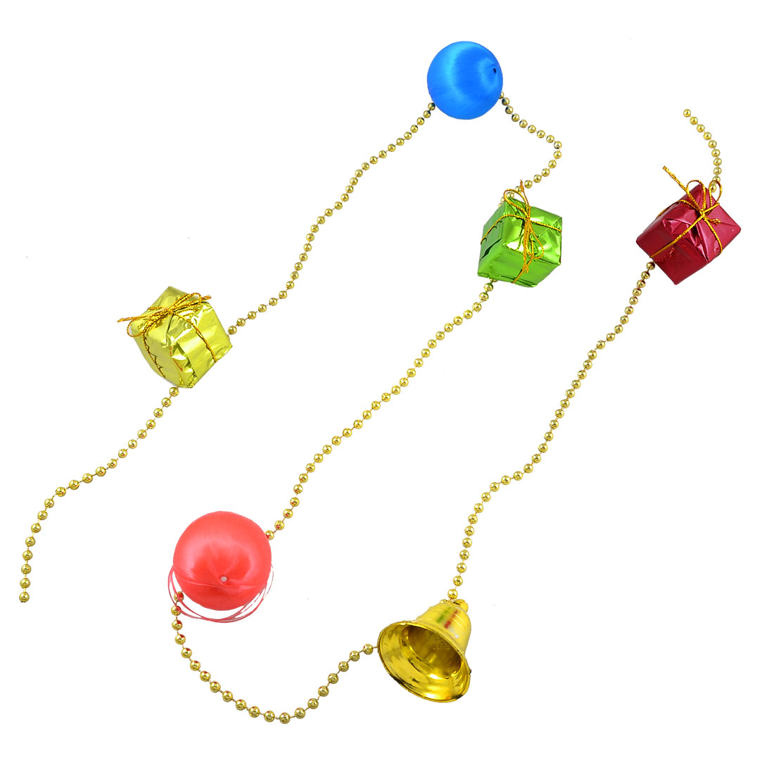 Colorful Xmas Square Gift Package Ball Bell Christmas Tree Hanging Decor