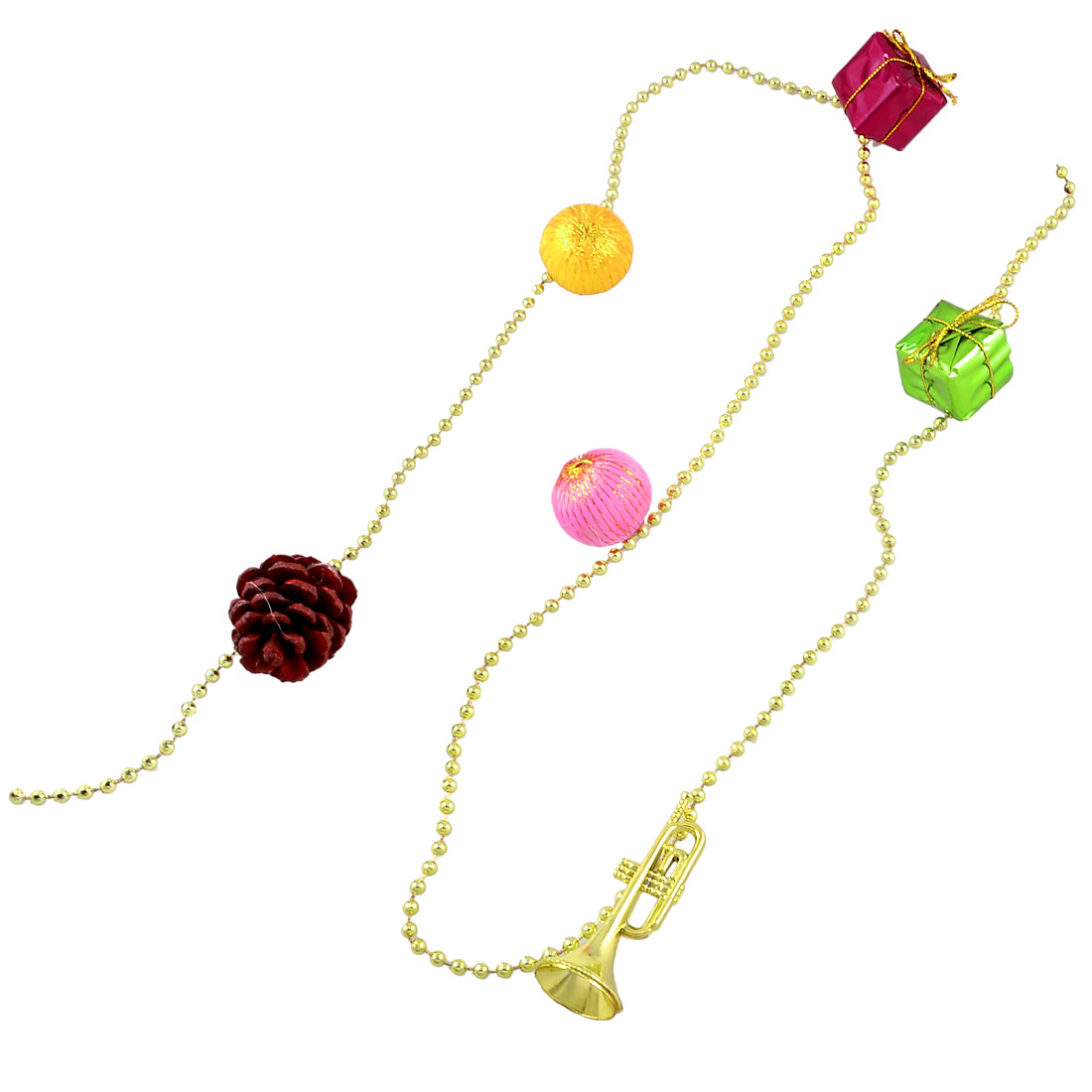 Colorful Xmas Gift Balls Trumpet Pine Nut Christmas Tree Hanging Ornament Chain