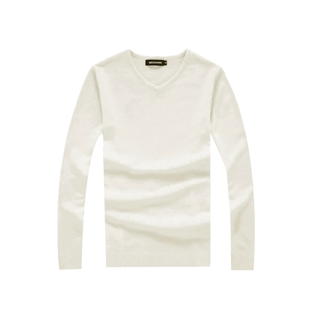 Men White Stylish Long Sleeve Pullover Design Ribbing Hem Casual Slim Sweater M