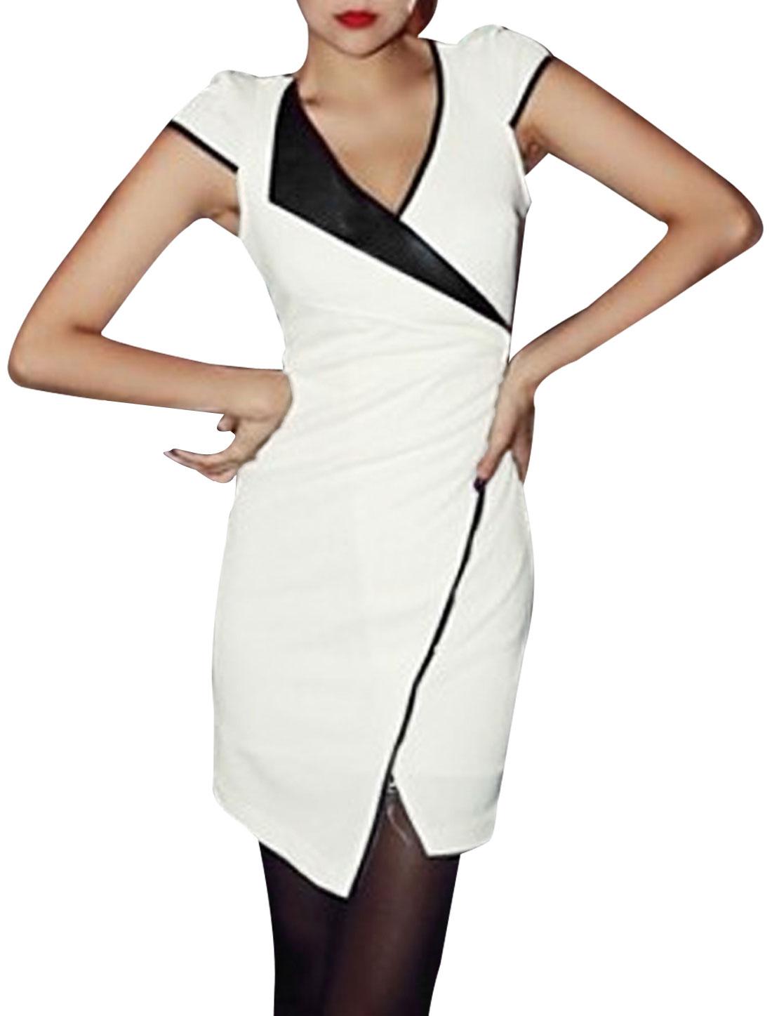 Lady White V Neckline Cap Sleeve Pullover Design Form-fitting Split Hem Mini Dress XS