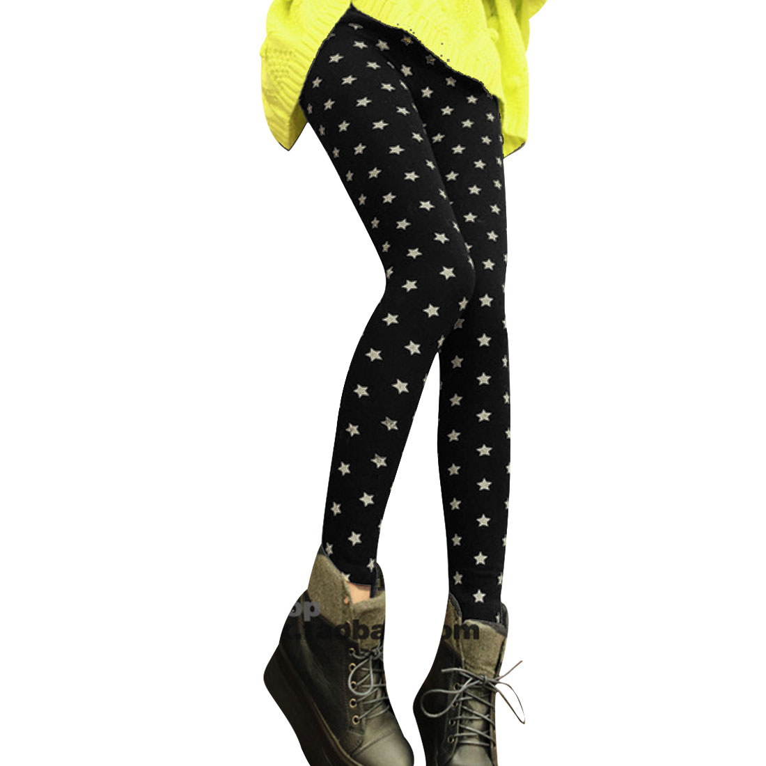 Ladies Black Mid Rise Stars Pattern Stylish Cropped Leggings XS