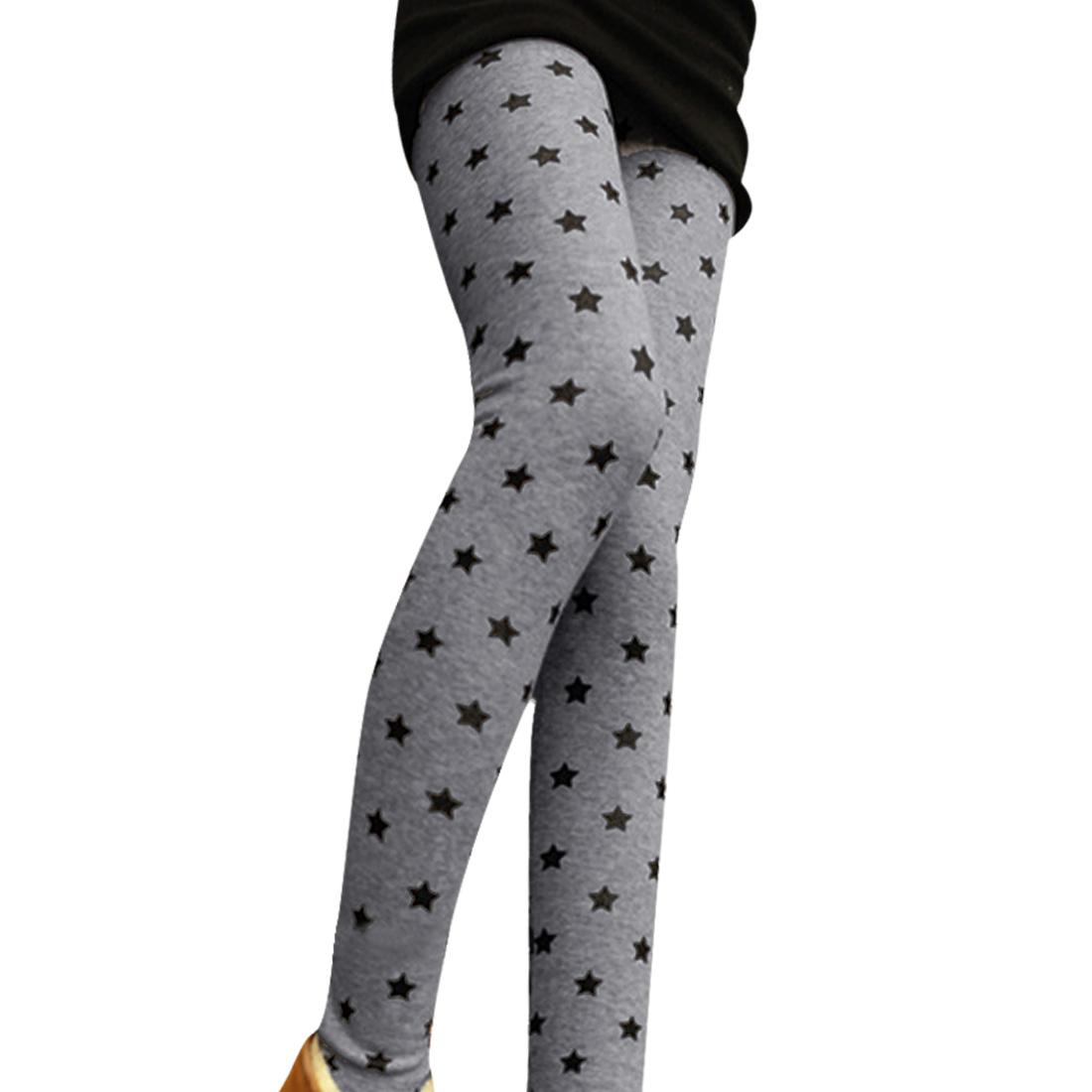 Ladies Light Gray Elastic Waist Stars Pattern Winter Skinny Leggings XS