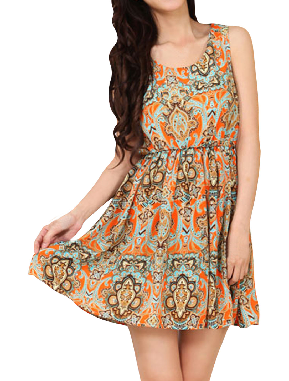 Women Sleeveless Scoop Neck Elastic Waist Printed Mini Dress Orange XS