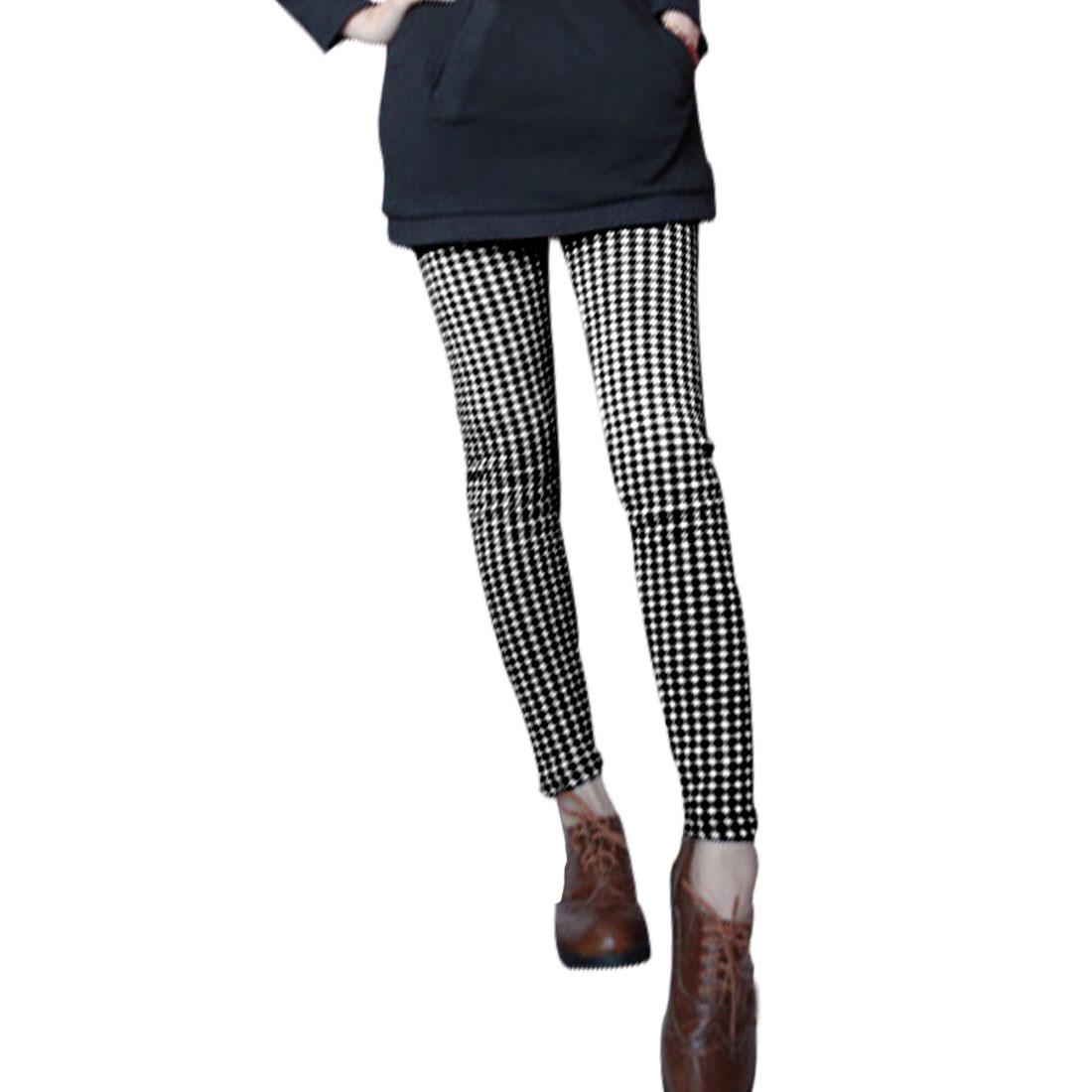 Ladies Black White Mid Rise Stretchy Skinny Fleece Inner Trendy Leggings XS